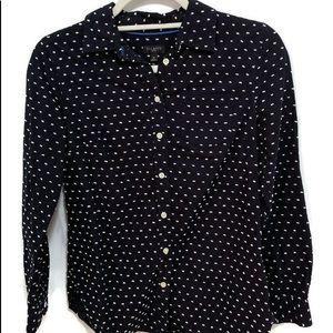 TALBOTS Petites Blue & White PokaDot Button Shirt